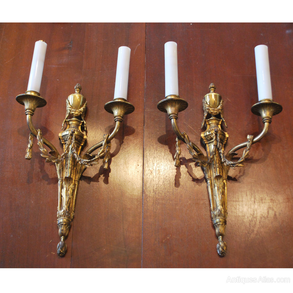 Antiques Atlas - Pair Of Antique Brass Wall Lights
