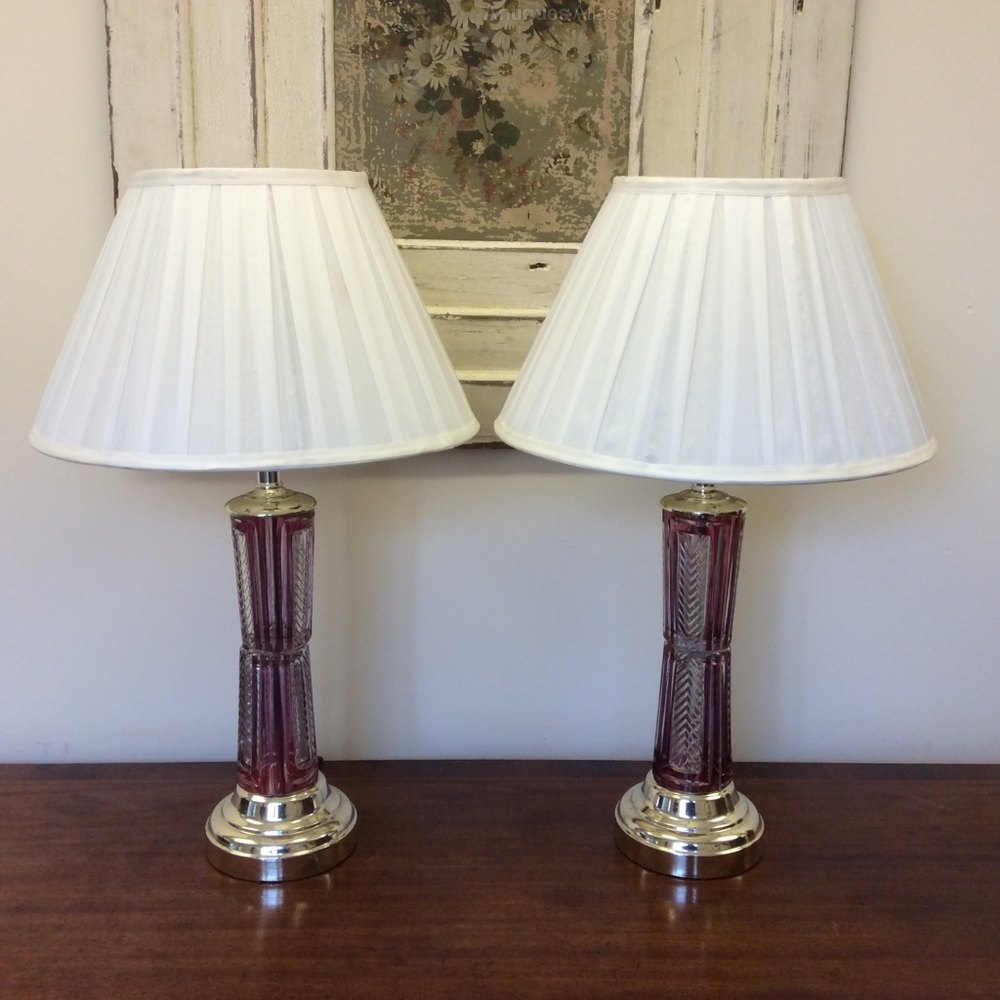 antiques atlas pair of cranberry glass table lamps. Black Bedroom Furniture Sets. Home Design Ideas