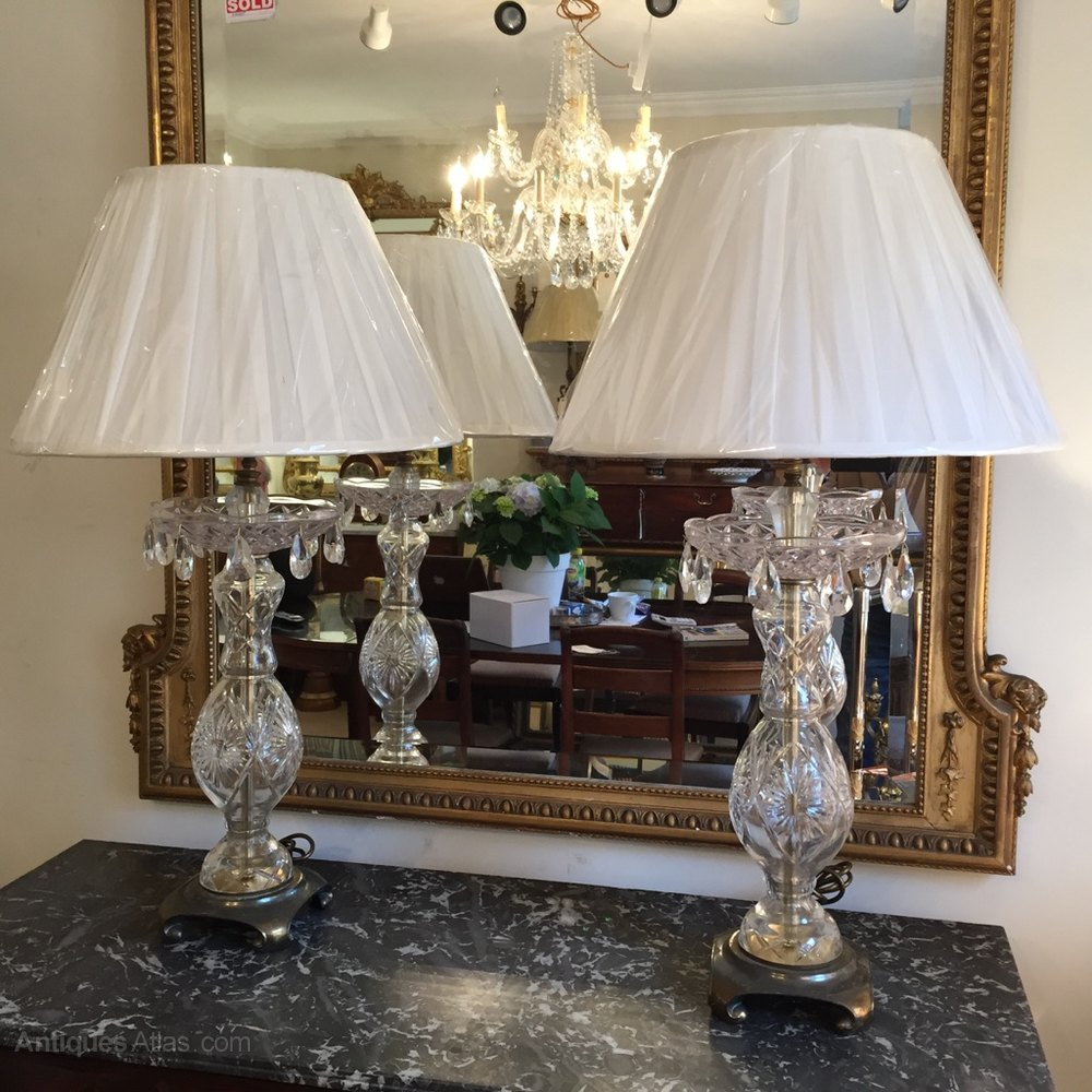 antiques atlas pair of cut glass table lamps. Black Bedroom Furniture Sets. Home Design Ideas