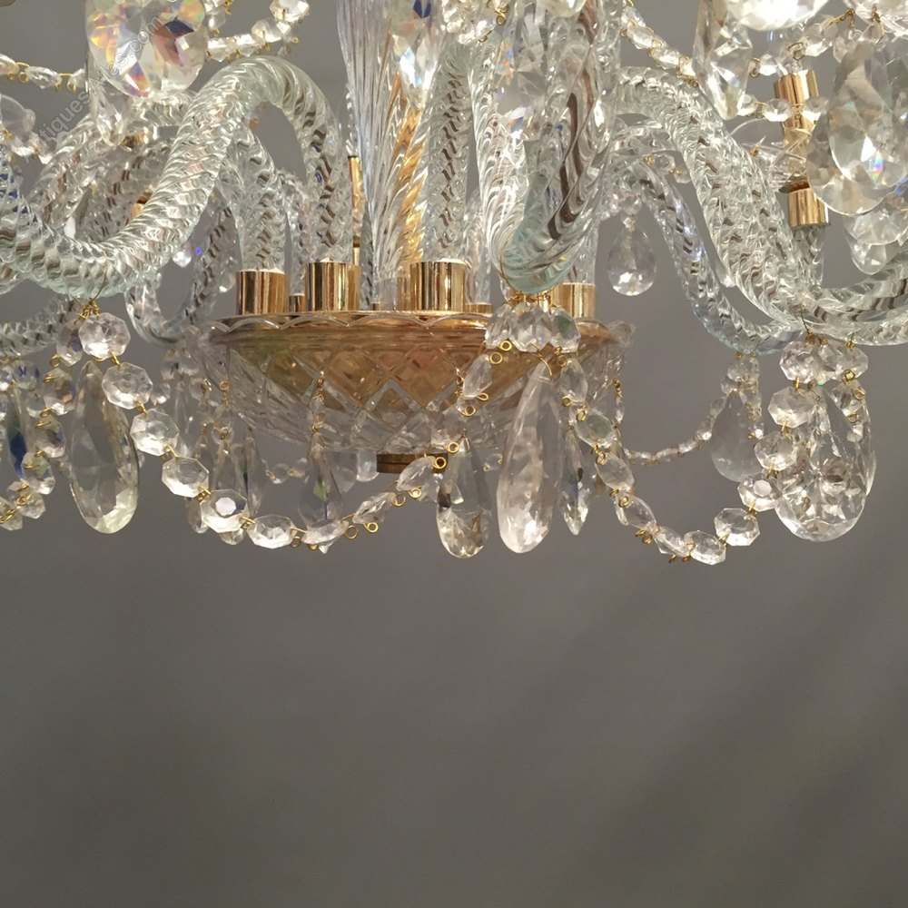 Great Photos Pair Of Glass And Crystal Chandeliers