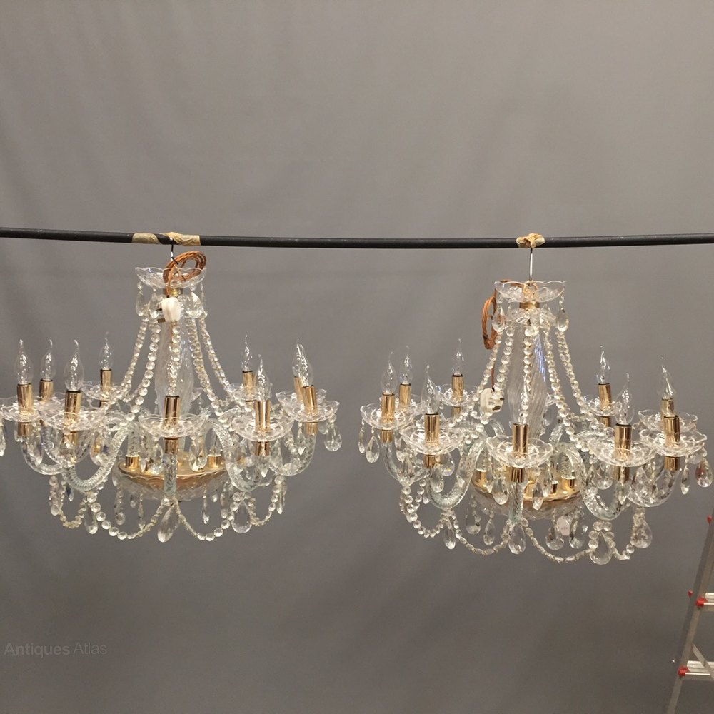 Fresh Pair Of Glass And Crystal Chandeliers