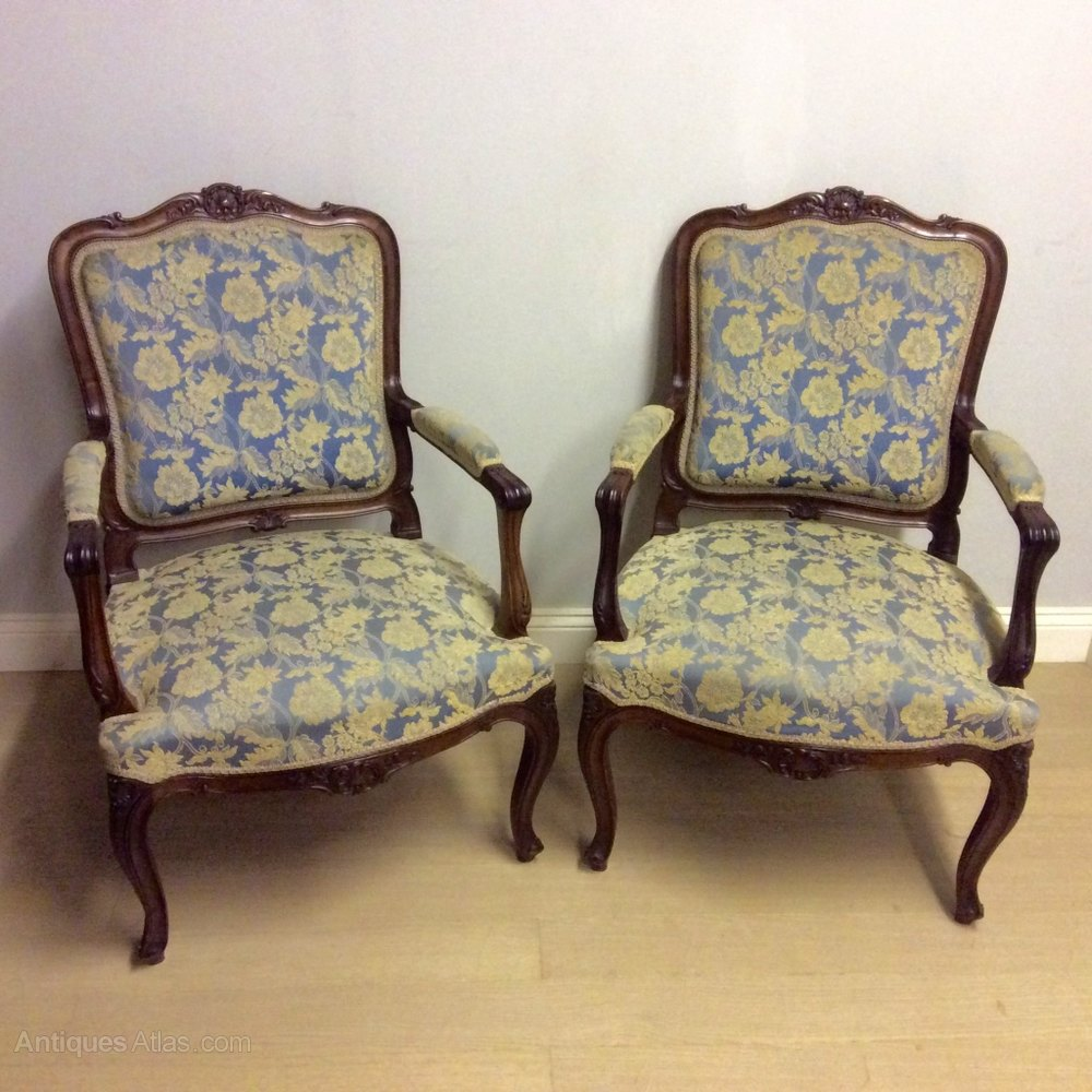 Pair of large french armchairs antiques atlas