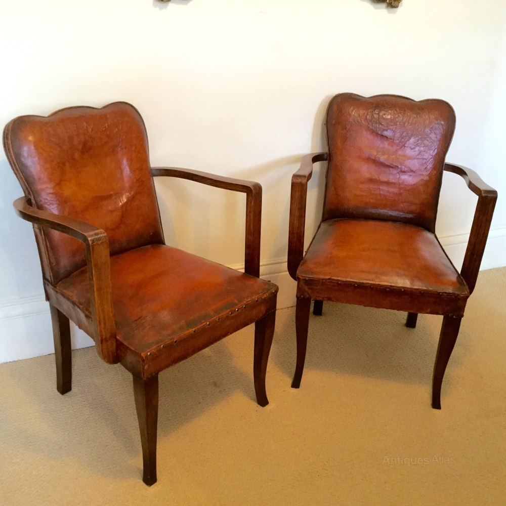 Art deco vintage leather sofa armchair - Rare Pair Of Art Deco Leather Bridge Chairs Antique