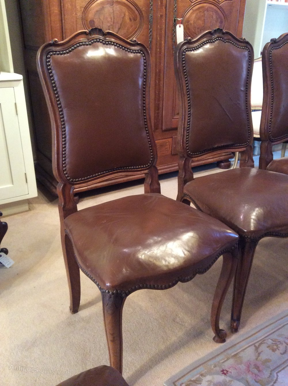 Set of 10 antique french leather dining chairs antiques for Antique leather chairs