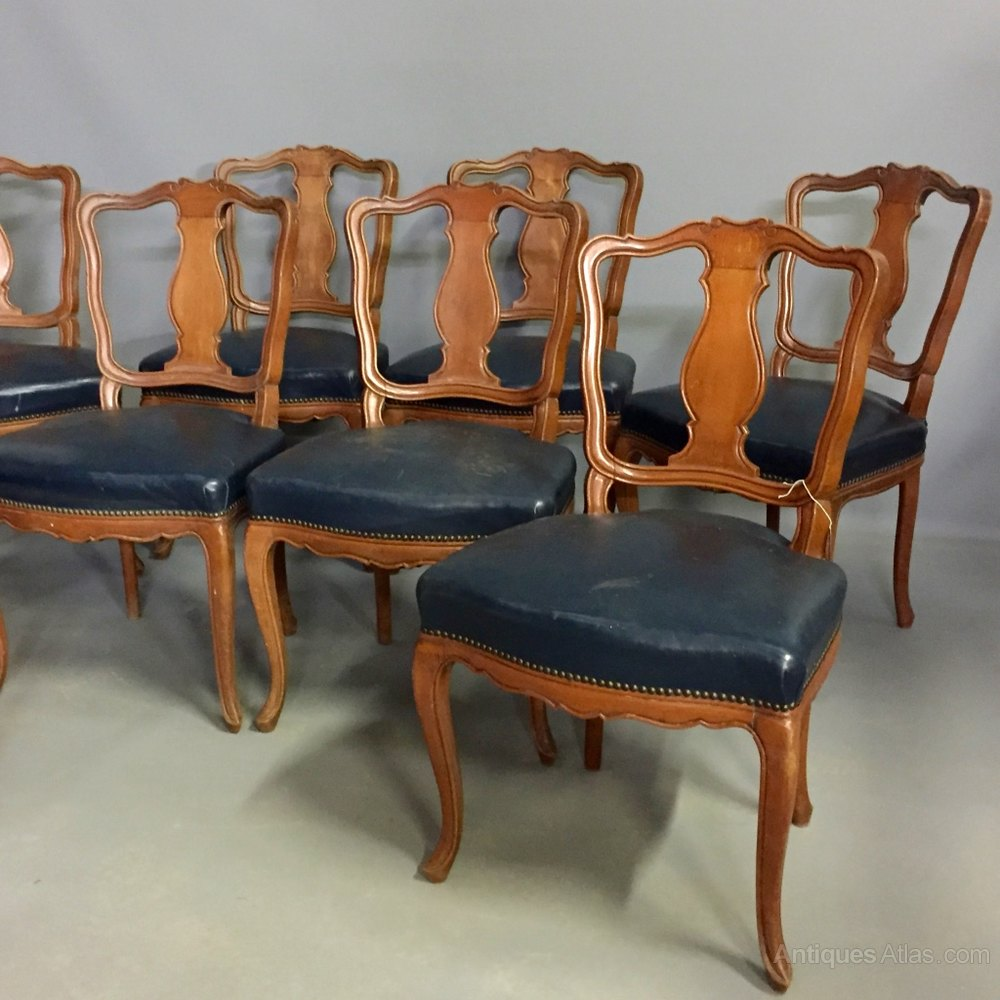Set Of 8 French Leather Dining Chairs Antiques Atlas