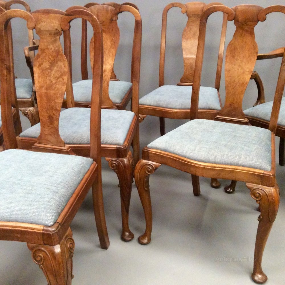 Set Of 8 Burr Walnut Dining Chairs Antiques Atlas