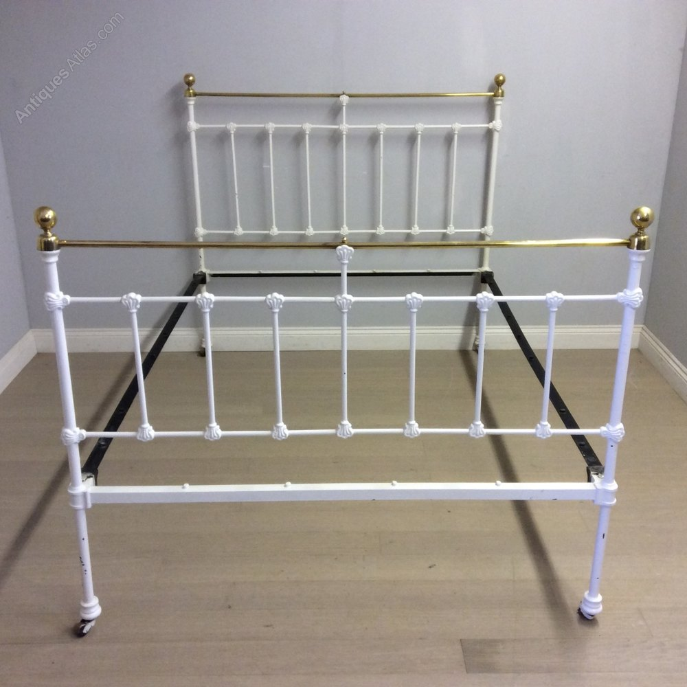 Victorian bed bases : Victorian brass and iron double bed with base antiques atlas