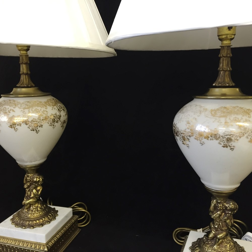 Antiques Atlas Pair Of Gilded Glass Cherub Lamps