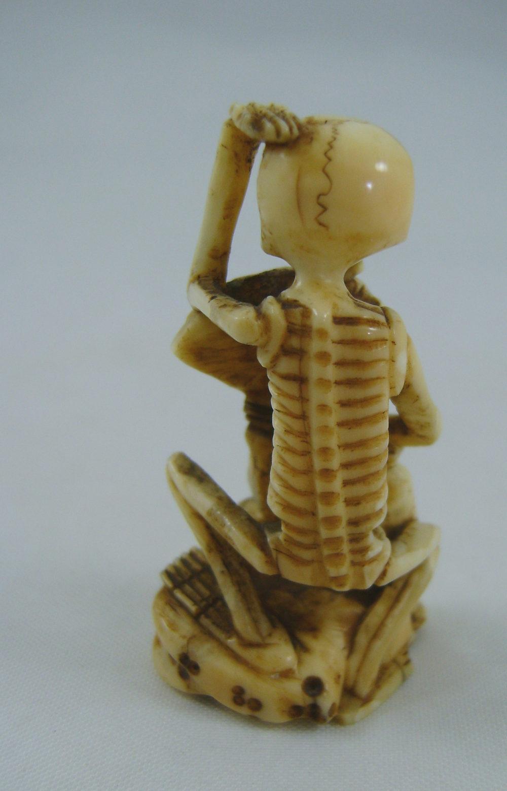 Antiques Atlas - Japanese Carved Ivory Okimono Skeleton