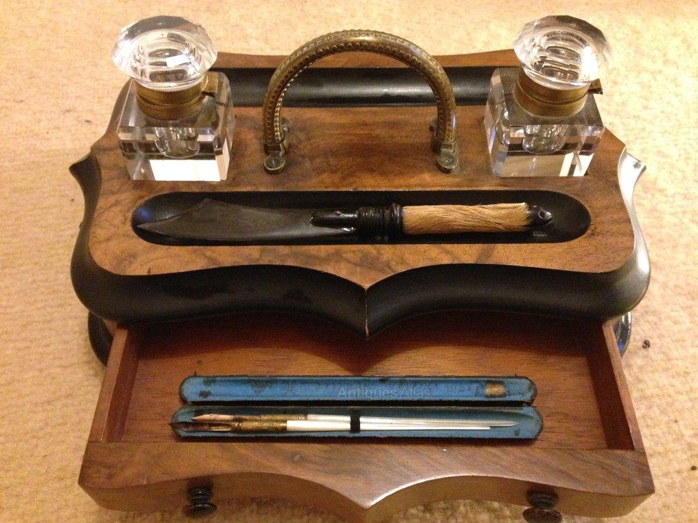 Wooden Desktop Writing Set Antique Desk Sets ... - Antiques Atlas - Wooden Desktop Writing Set