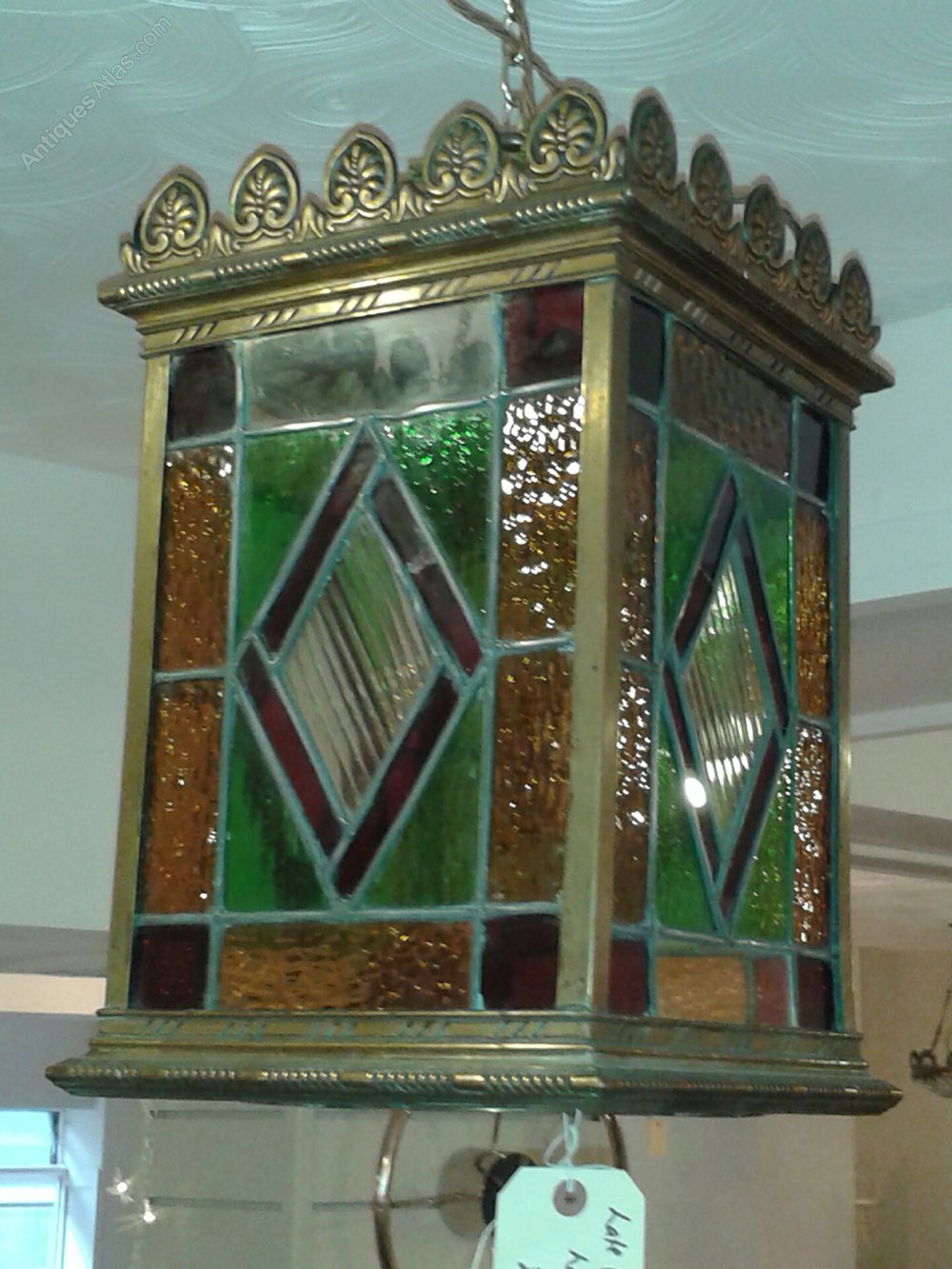 Antique Chandeliers For Sale >> Antiques Atlas - Large Stained Glass Victorian Lantern