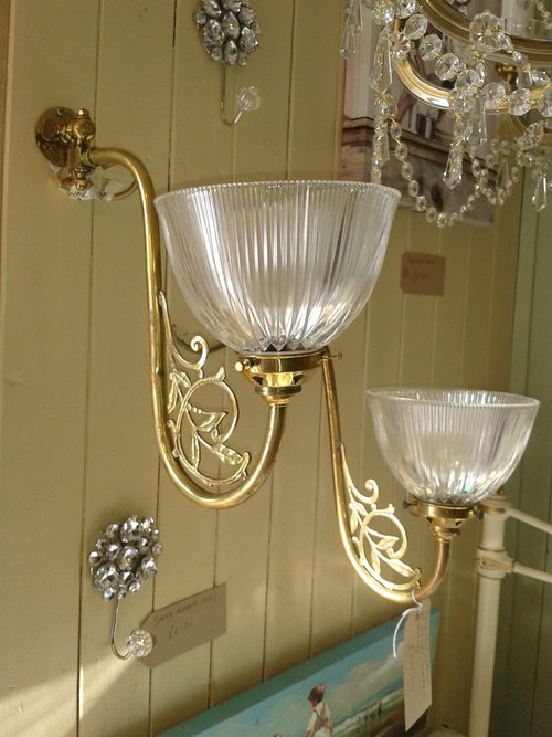 Glass Shades For Wall Lights : Antiques Atlas - Pair Of Mid Victorian Wall Lights With Glass Shade