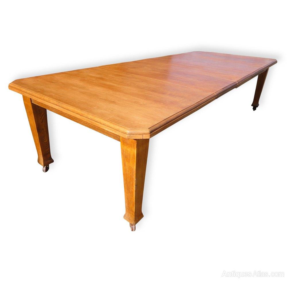 10ft antique arts crafts oak extending dining table for Oak extending dining table