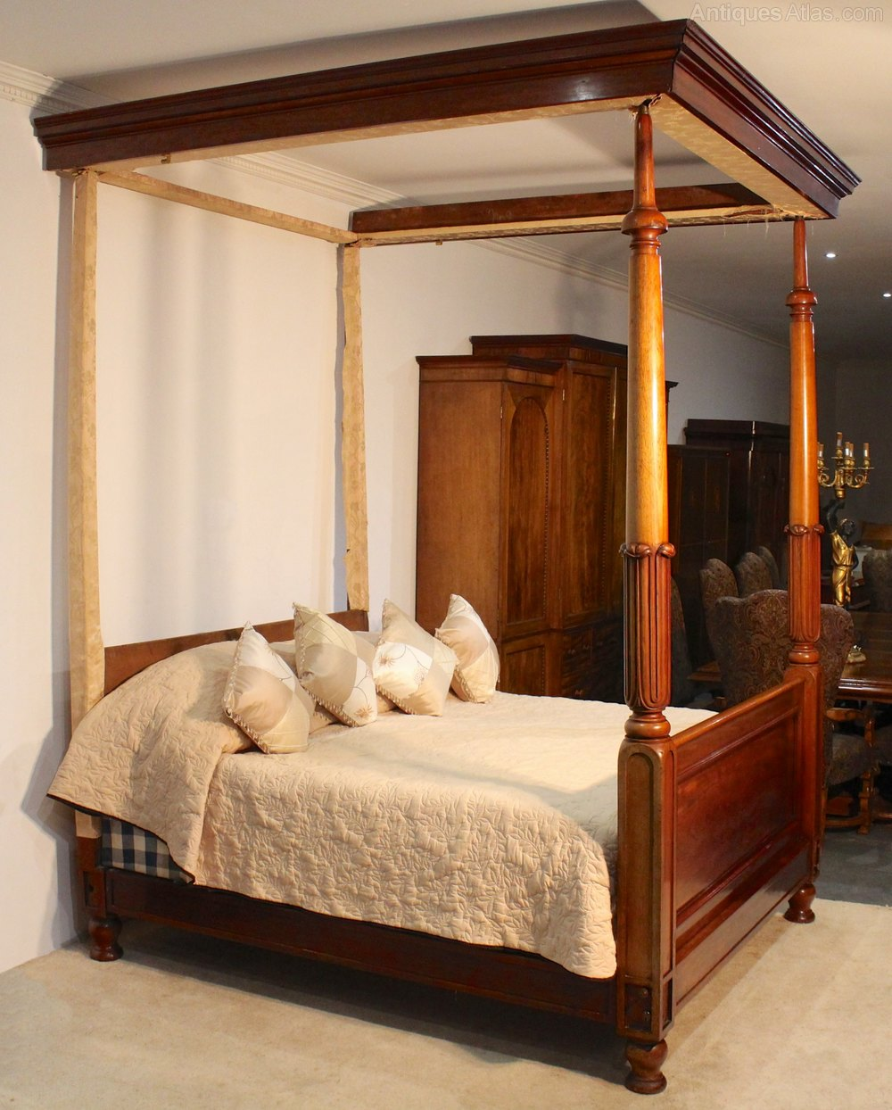 6ft Wide William IV Mahogany Four Poster Bed