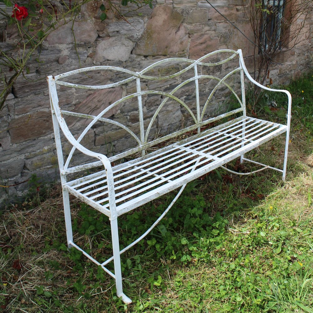 Antiques atlas antique regency wrought iron garden seat bench Wrought iron outdoor bench