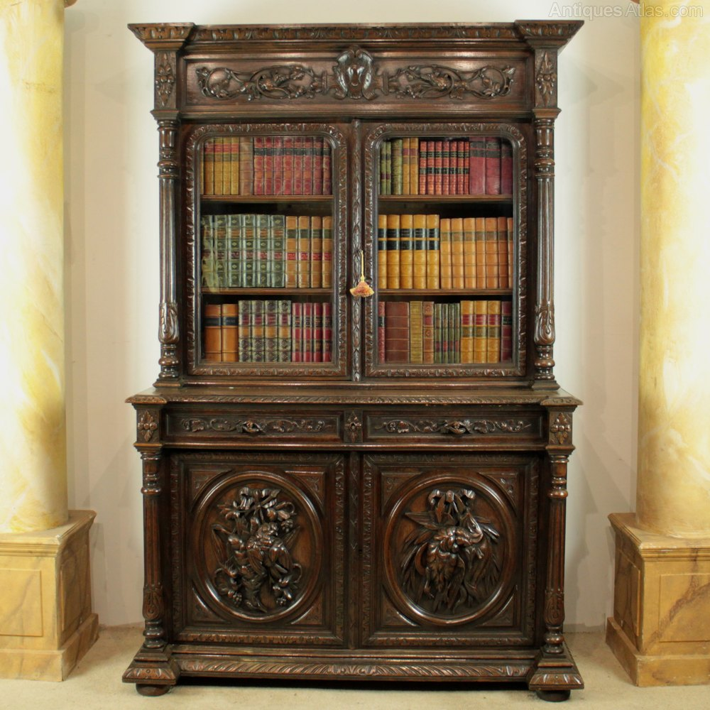 Antique Furniture: Antique Victorian Carved Oak Country Bookcase