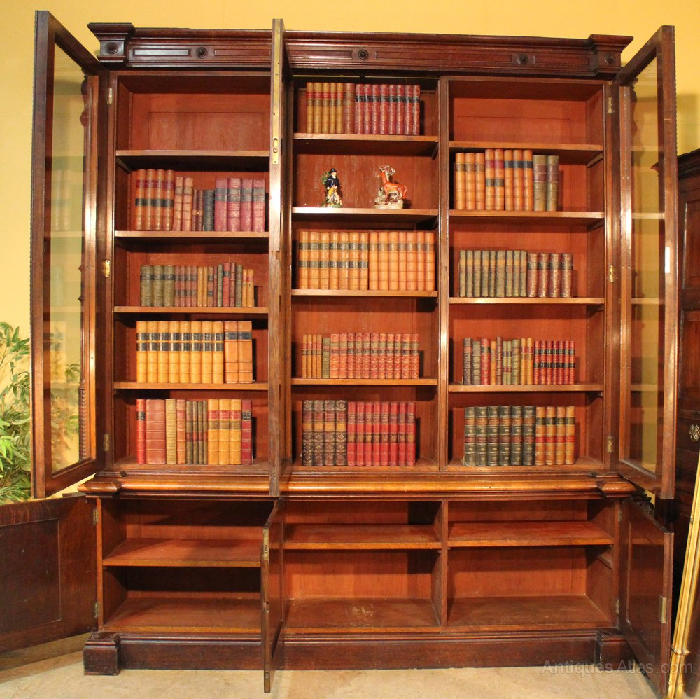 Wooden Library Furniture ~ Antique victorian oak library bookcase antiques atlas