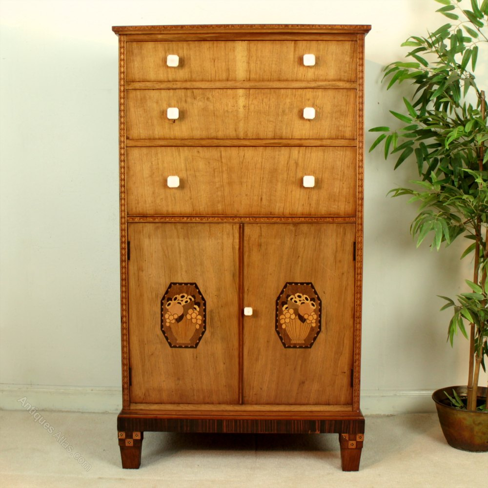 Art Deco Walnut, Macassar, Marquetry Bedroom Suite