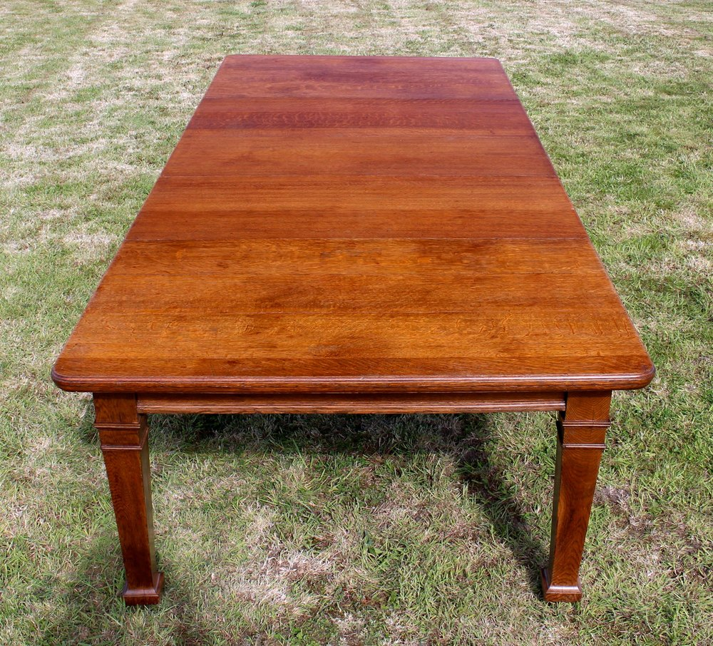 arts crafts oak extending dining table 10ft seats 12 antiques atlas. Black Bedroom Furniture Sets. Home Design Ideas