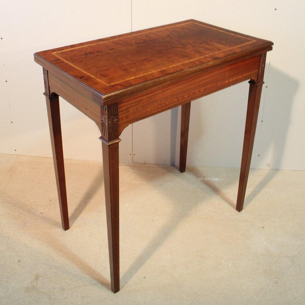 Edwardian sheraton style mahogany card table antiques atlas