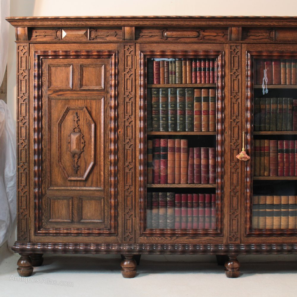 Large Oak Library Bookcase Late 19th Early 20th C