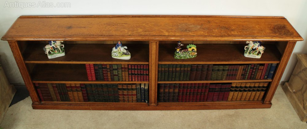 Large Victorian Oak Floor Bookcase 8ft Wide Antiques Atlas