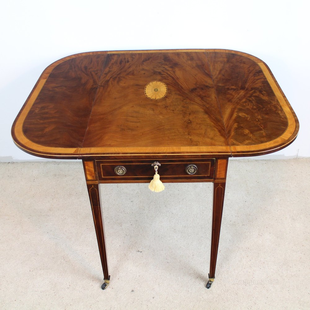 ANTIQUE PEMBROKE TABLE Sheraton Edinburgh. Regency Scottish Mahogany   Inlaid Pembroke Table   Antiques Atlas