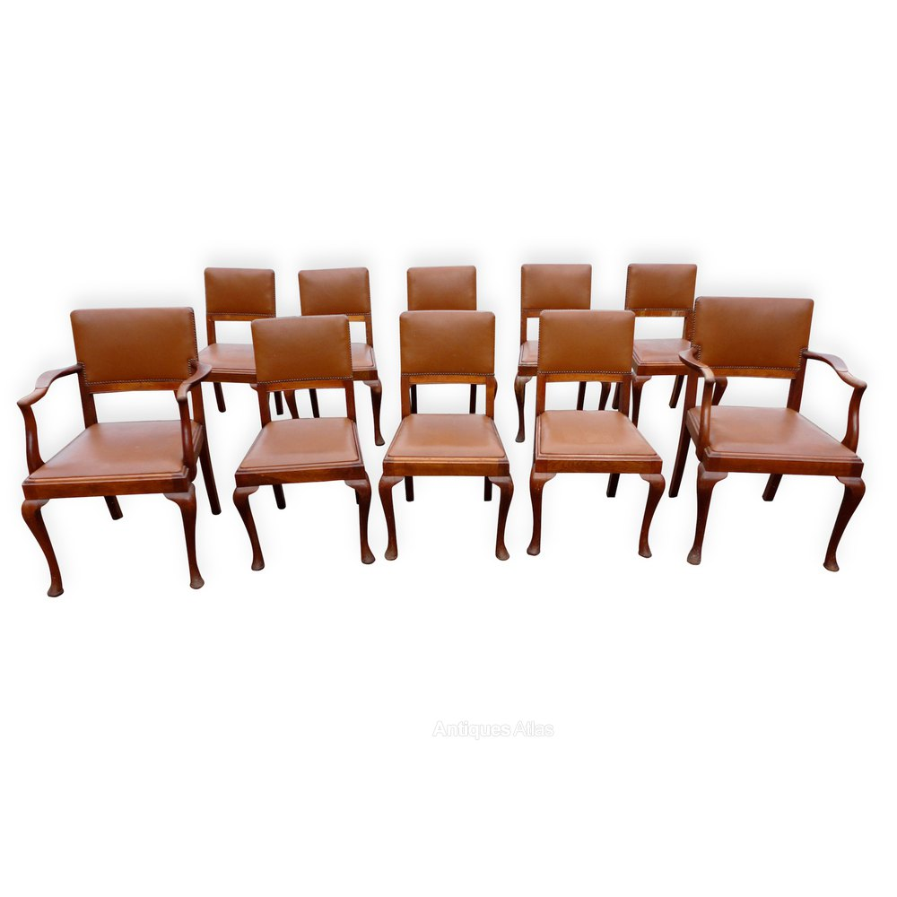 Set Of 10 Walnut Dining Chairs Antiques Atlas