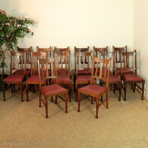 Set Of 14 Arts Crafts Dining Chairs Antiques Atlas