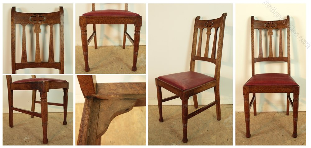 Set of 14 arts crafts dining chairs antiques atlas for Arts and crafts 5 piece dining set