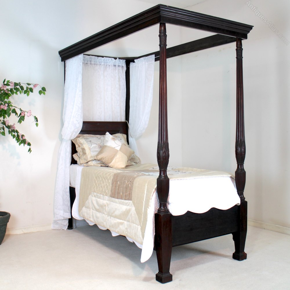 Elegant Victorian Mahogany Single Four Poster Bed