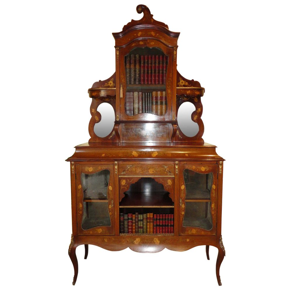 Victorian walnut and marquetry display cabinet antiques for Antique display cabinet