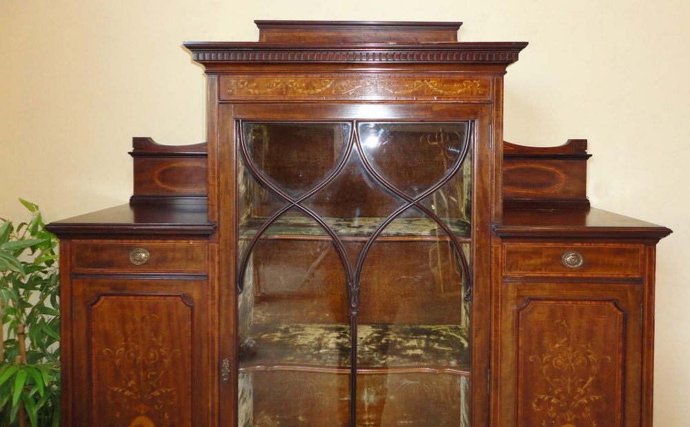 Victorian walnut and marquetry display cabinet antiques