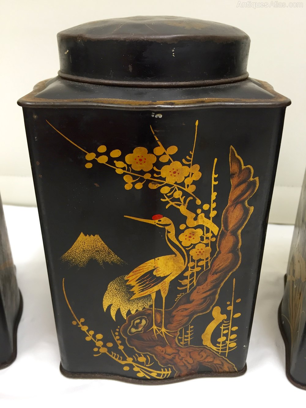 Exotic Birds For Sale >> Antiques Atlas - Set 3 Antique Tea Tins