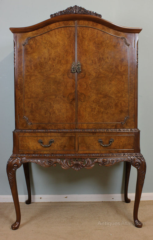 Antiques Atlas - Antique Burr Walnut Cocktail, Drinks, Cabinet