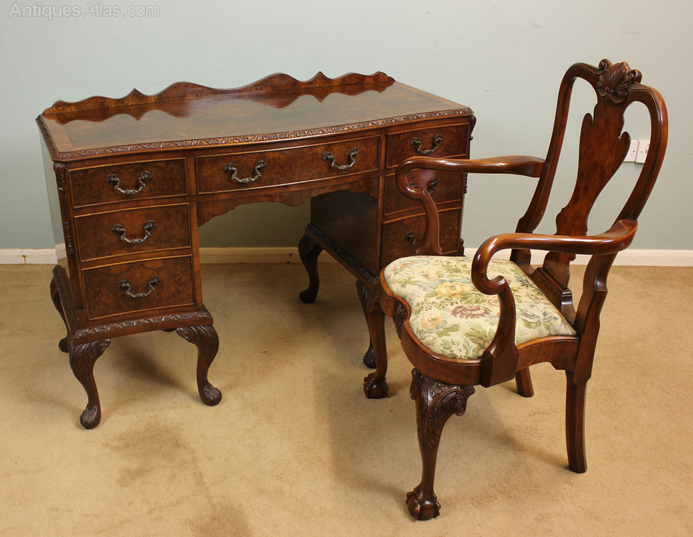 Antique burr walnut knee hole desk side table antiques atlas - Antique peephole ...