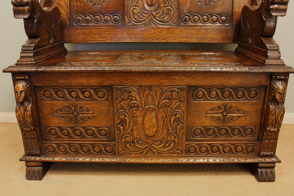 Antique carved oak monks bench settle antiques atlas