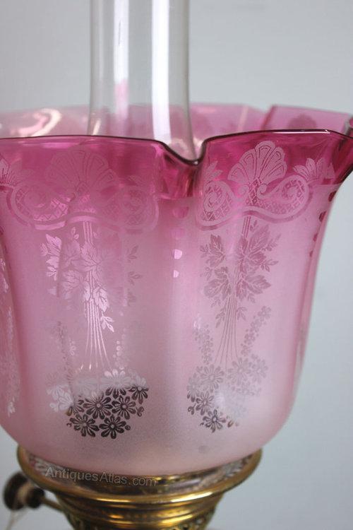 Cranberry Glass Lamp Shade: Antique Cranberry Glass Oil Lamp Shade / Globe Antique Lamp Shades,Lighting