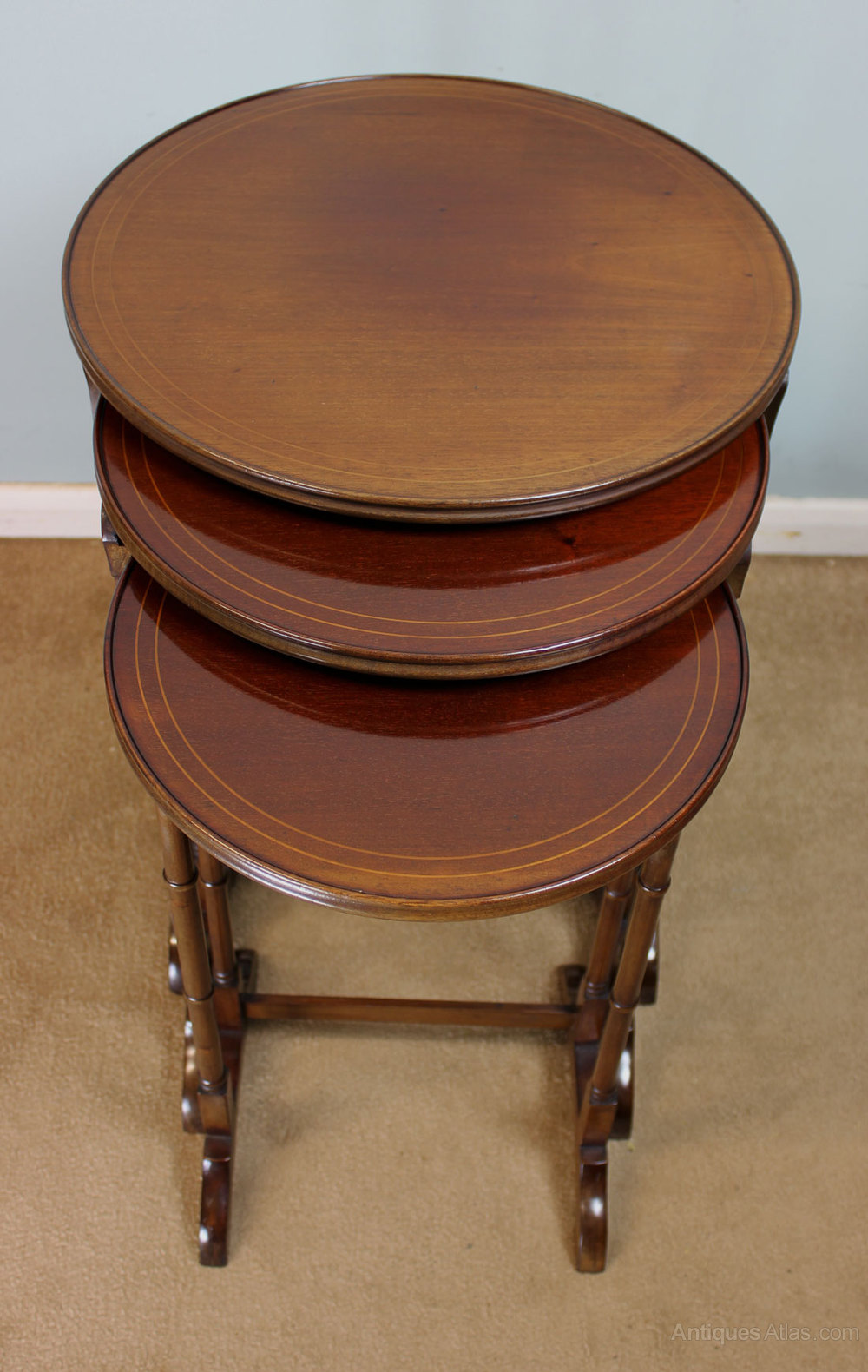 Antique edwardian mahogany nest of tables antiques atlas