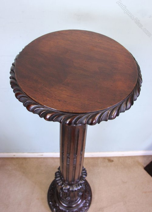Antique Mahogany Torchere Plant Display Stand