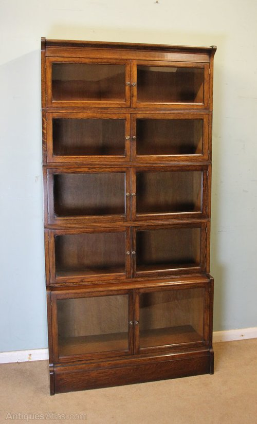 Antique oak globe wernicke type stacking bookcase for Types of bookshelves