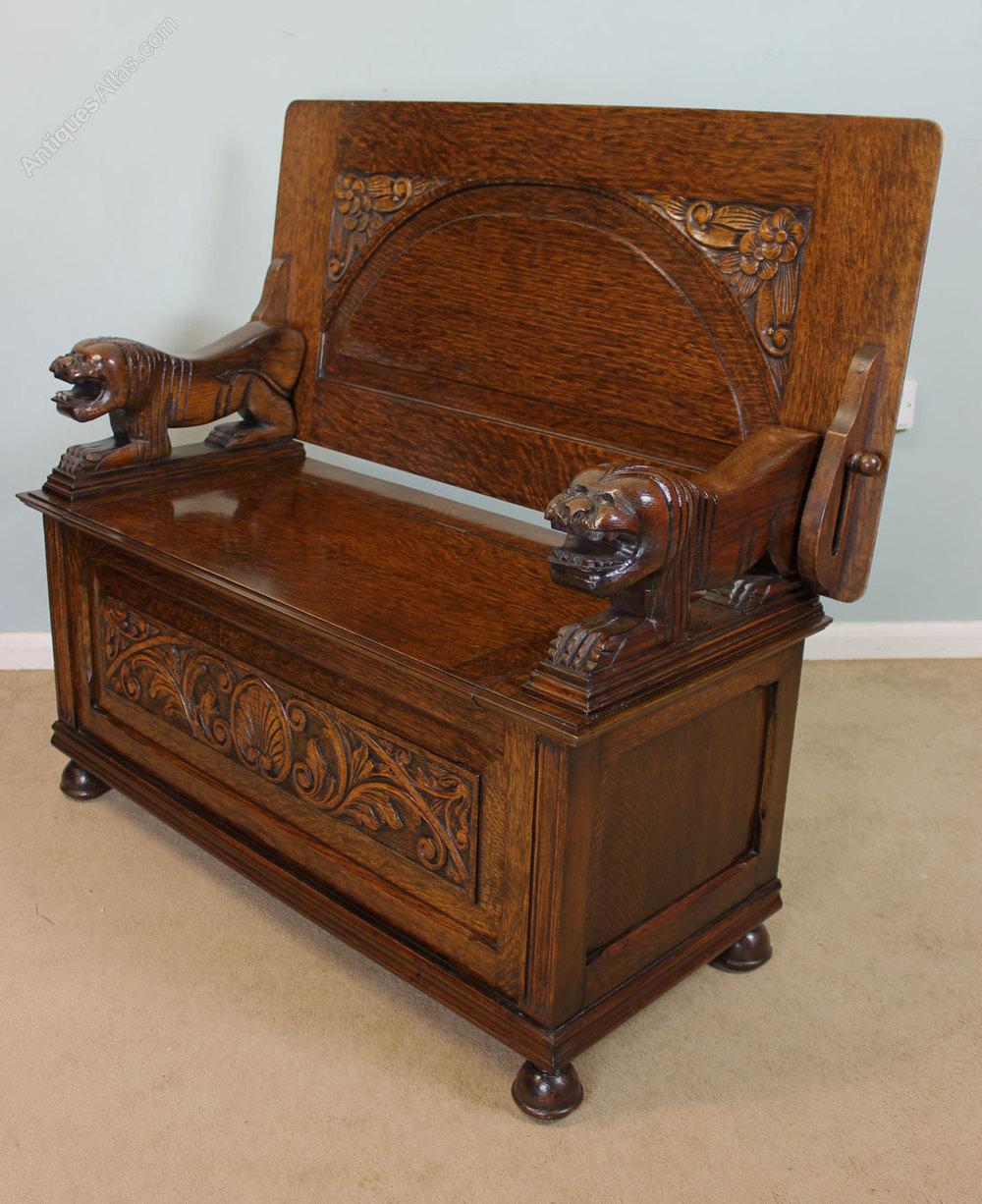 Antique Oak Monks Bench Hall Seat Settle Antiques Atlas