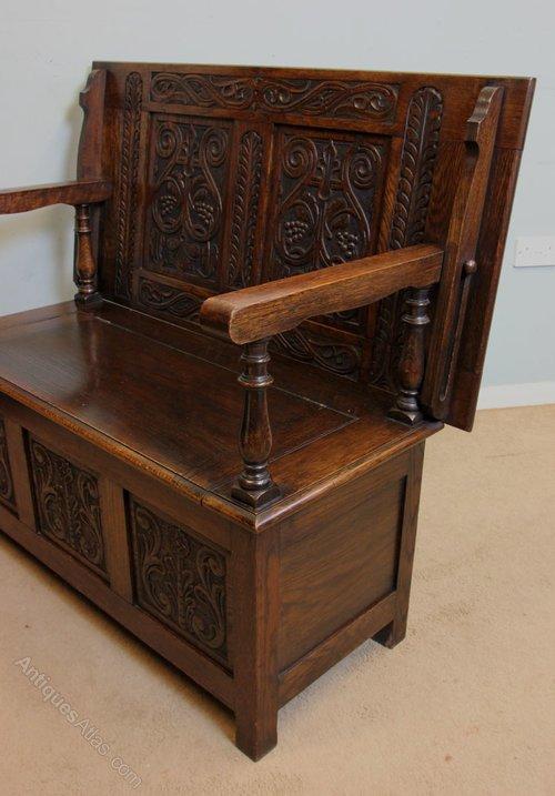 antique oak monks bench settle hall chair antiques atlas