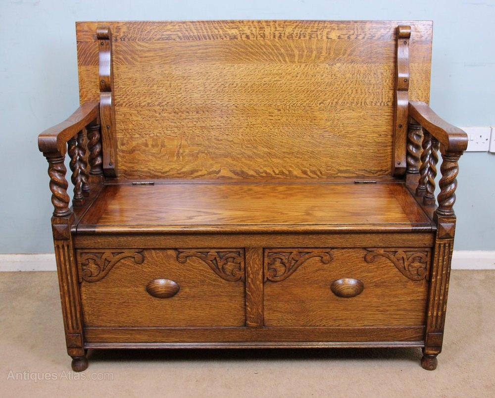 Antique Oak Monks Bench Settle Hall Seat Antiques Atlas