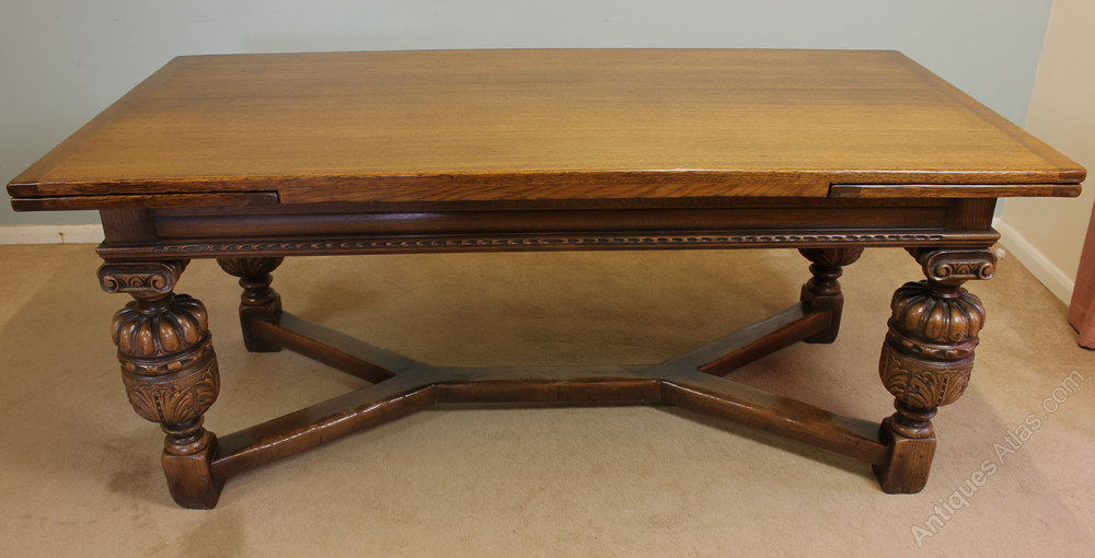 Antique Oak Refectory Draw Leaf Dining Table Vintage Refectory Tables  Antique Refectory Oak ...