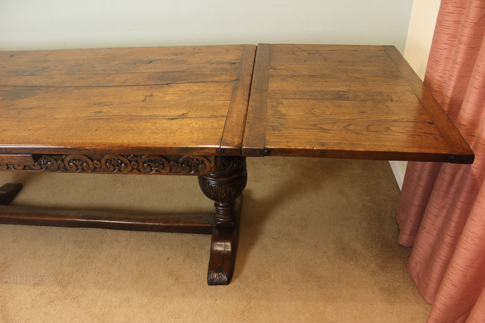 Antique Refectory Draw Leaf Farmhouse Dining Table
