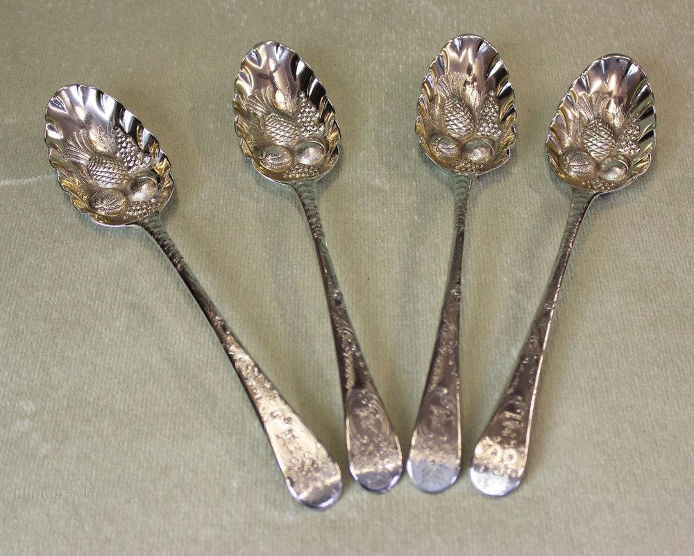 Antiques Atlas - Antique Set Of Four Silver Berry Spoons