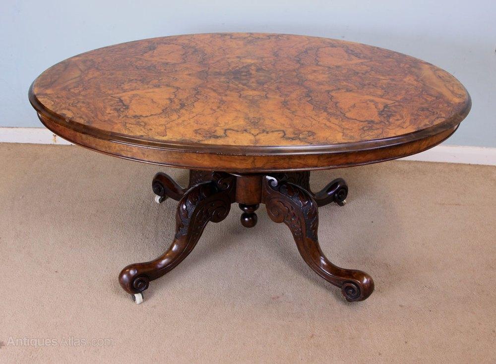 Antique victorian burr walnut coffee table antiques atlas for Walnut coffee table