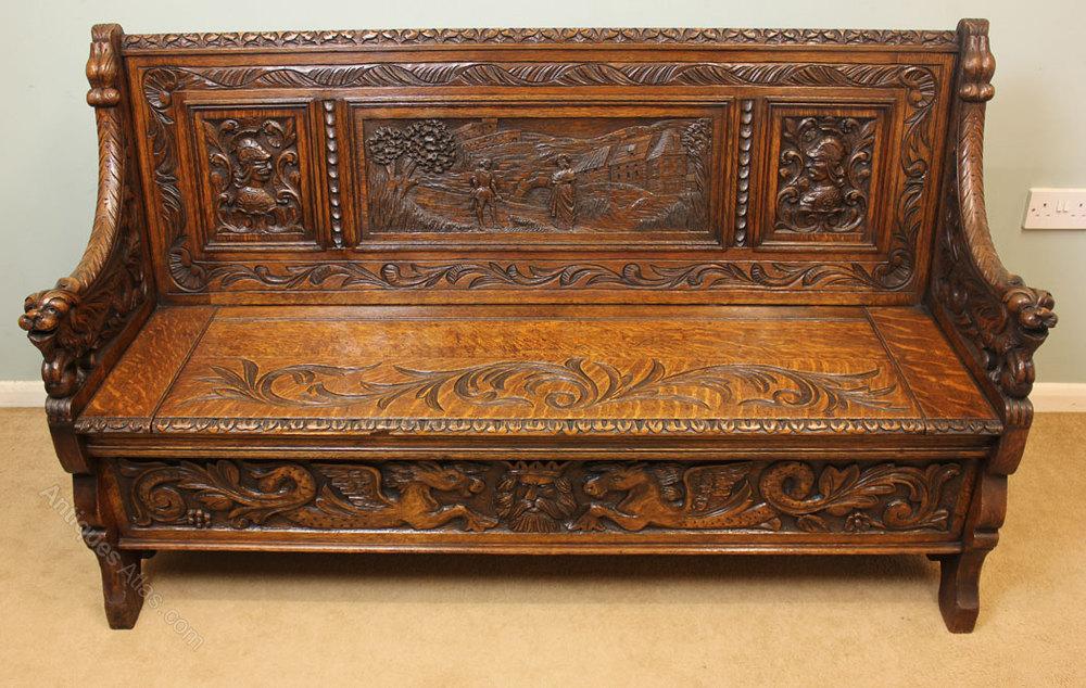 Antique Victorian Carved Oak Settle Bench Antiques Atlas