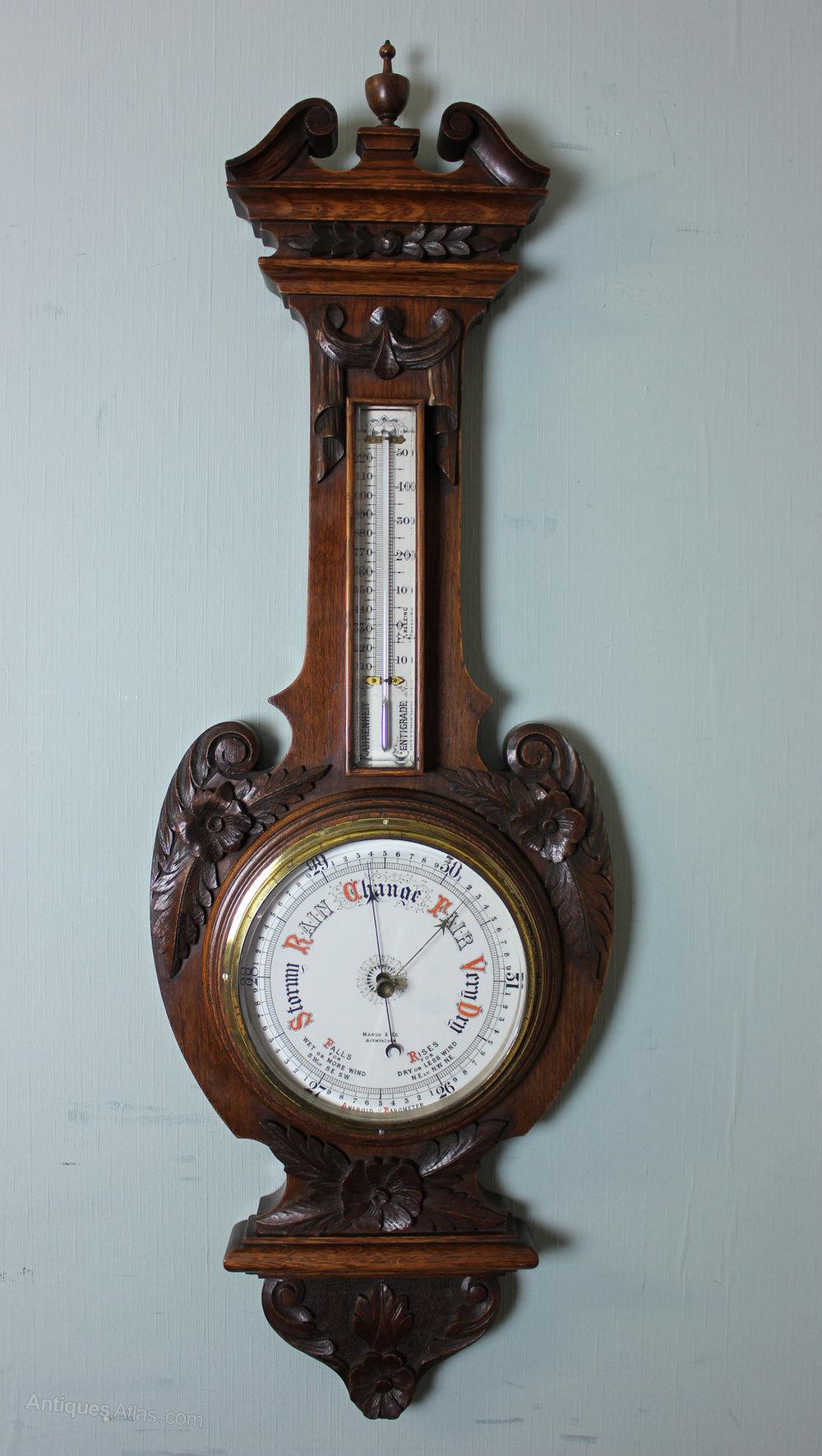 Antiques Atlas - Antique Victorian Oak Aneroid Barometer